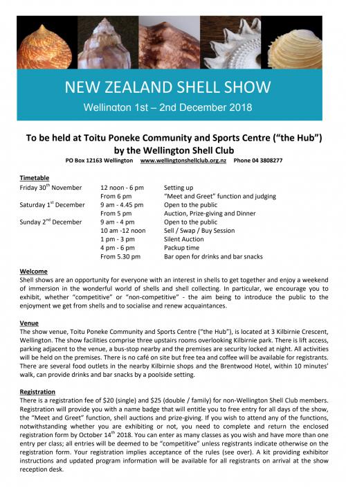 "New Zealand Shell Show 2018 @ ""The Hub"" Toitu Poneke Community and Sports Centre | Wellington | Wellington | New Zealand"